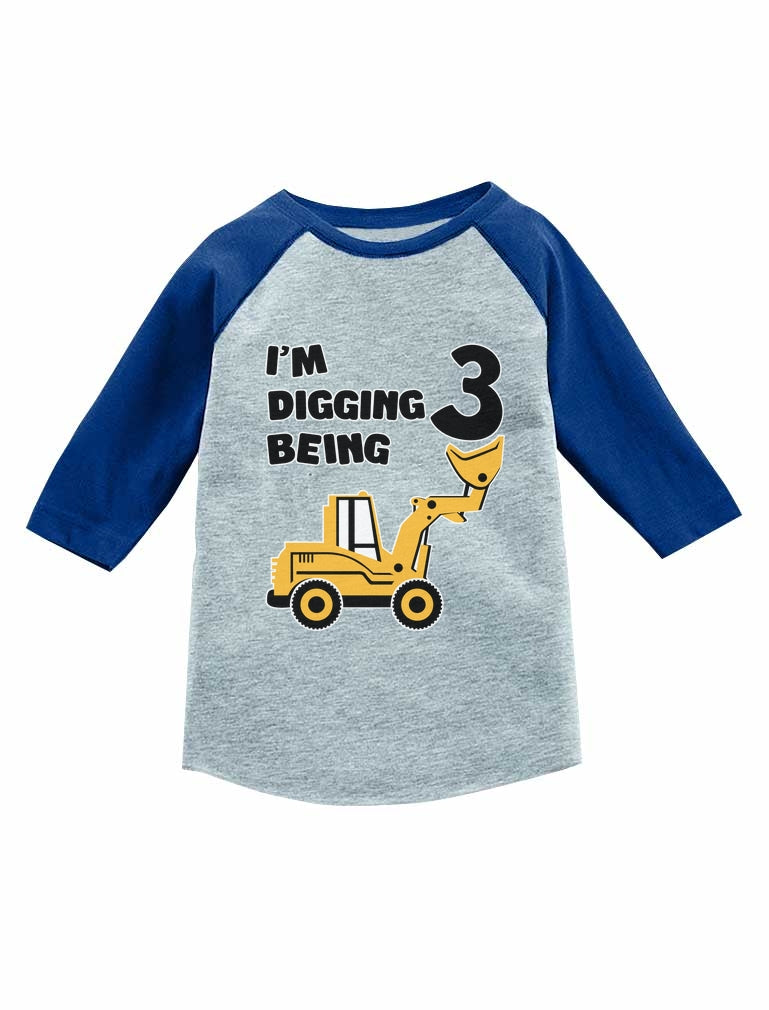 Construction Party 3rd Birthday Gift 3/4 Sleeve Baseball Jersey Toddler Shirt