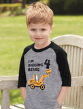 Digging Being 4 Four Years Old Birthday 3/4 Sleeve Baseball Jersey Toddler Shirt