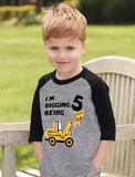Digging Being 5 Five Years Old Birthday 3/4 Sleeve Baseball Jersey Toddler Shirt
