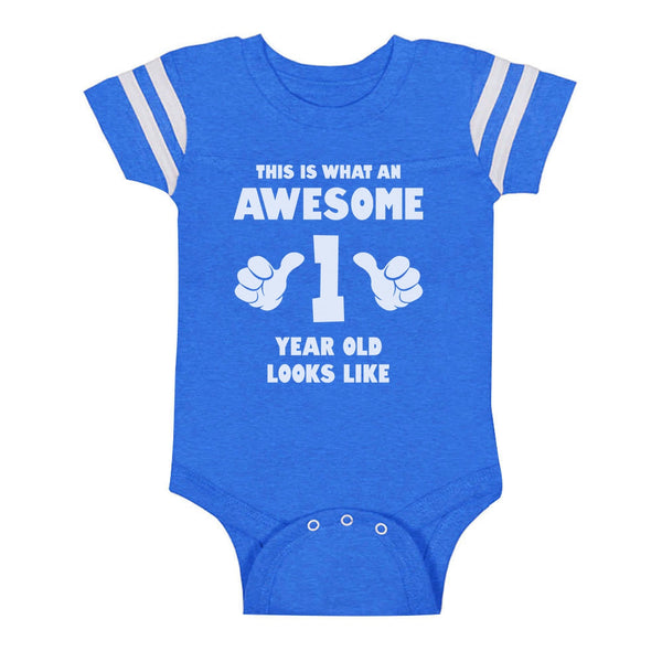 Tstars tshirts This Is What an Awesome One Year Old Looks Like Baby Jersey Bodysuit