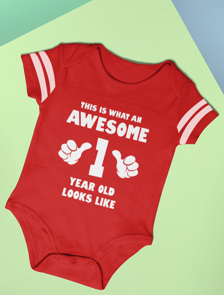 This Is What an Awesome One Year Old Looks Like Baby Jersey Bodysuit