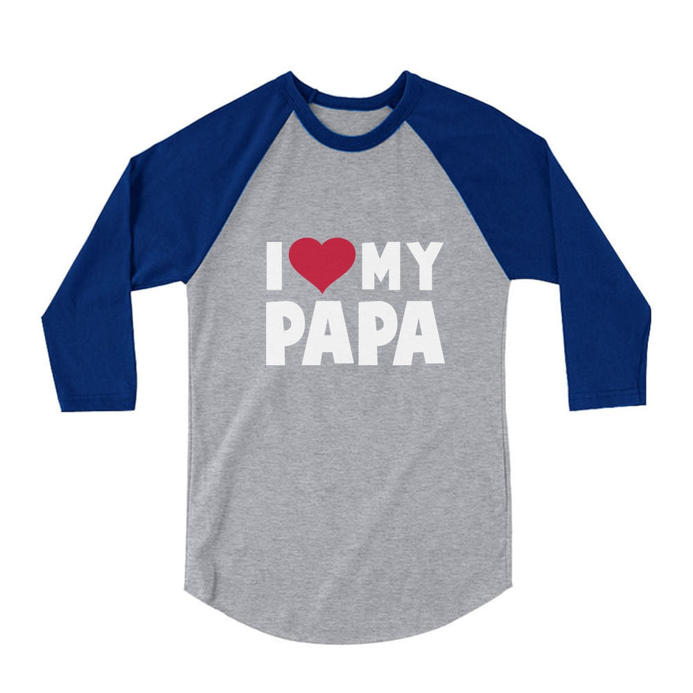 I Love Heart My Papa 3/4 Sleeve Baseball Jersey Toddler Shirt