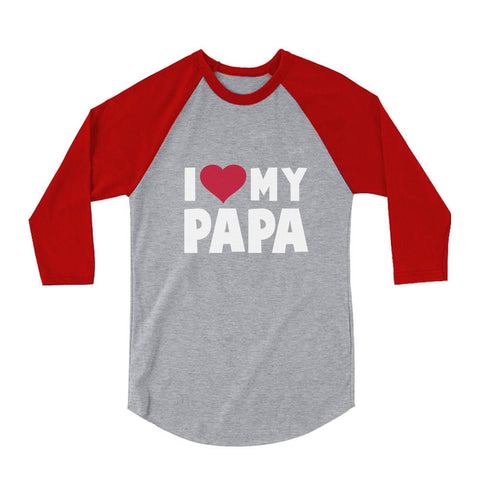 Tstars tshirts I Love Heart My Papa 3/4 Sleeve Baseball Jersey Toddler Shirt
