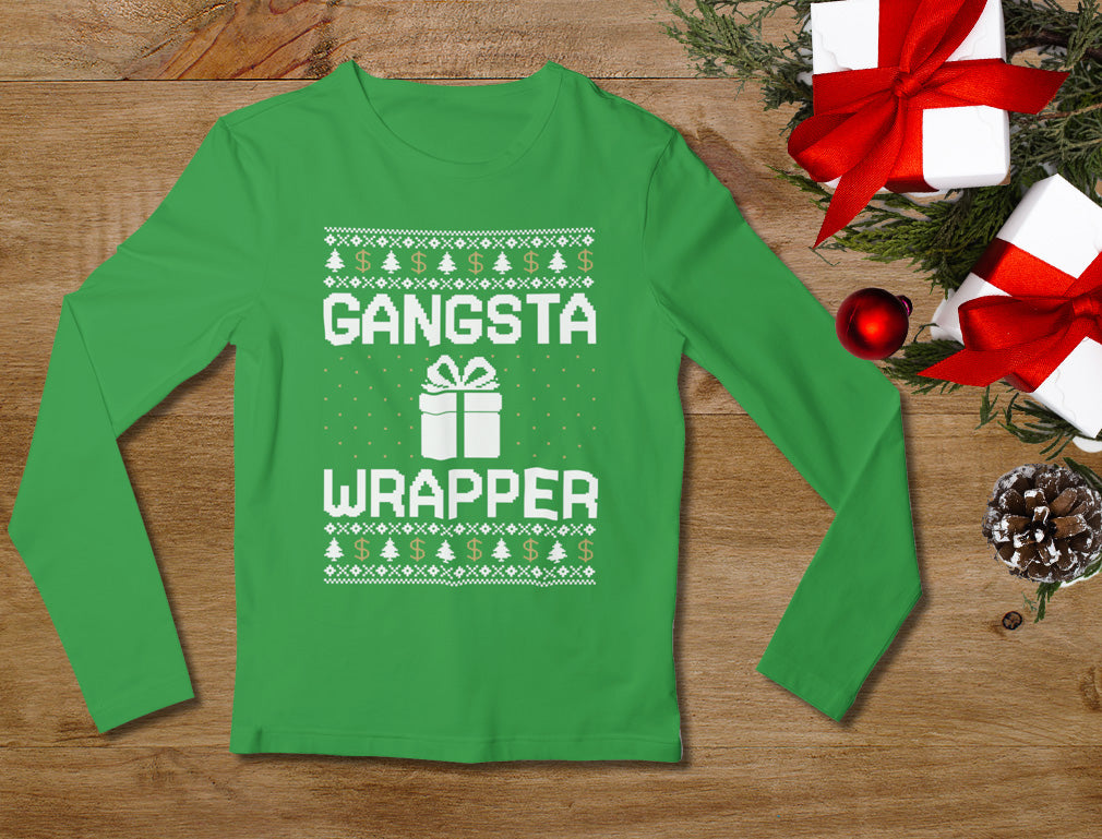 Gangsta Wrapper Ugly Christmas Sweater Women Long Sleeve T-Shirt - Red