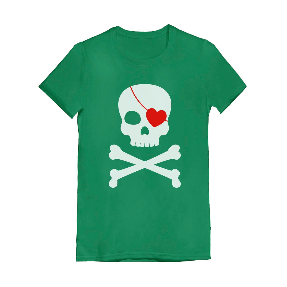 Pirate Skull & Heart Cute Valentine's Day Youth Kids Girls' Fitted T-Shirt