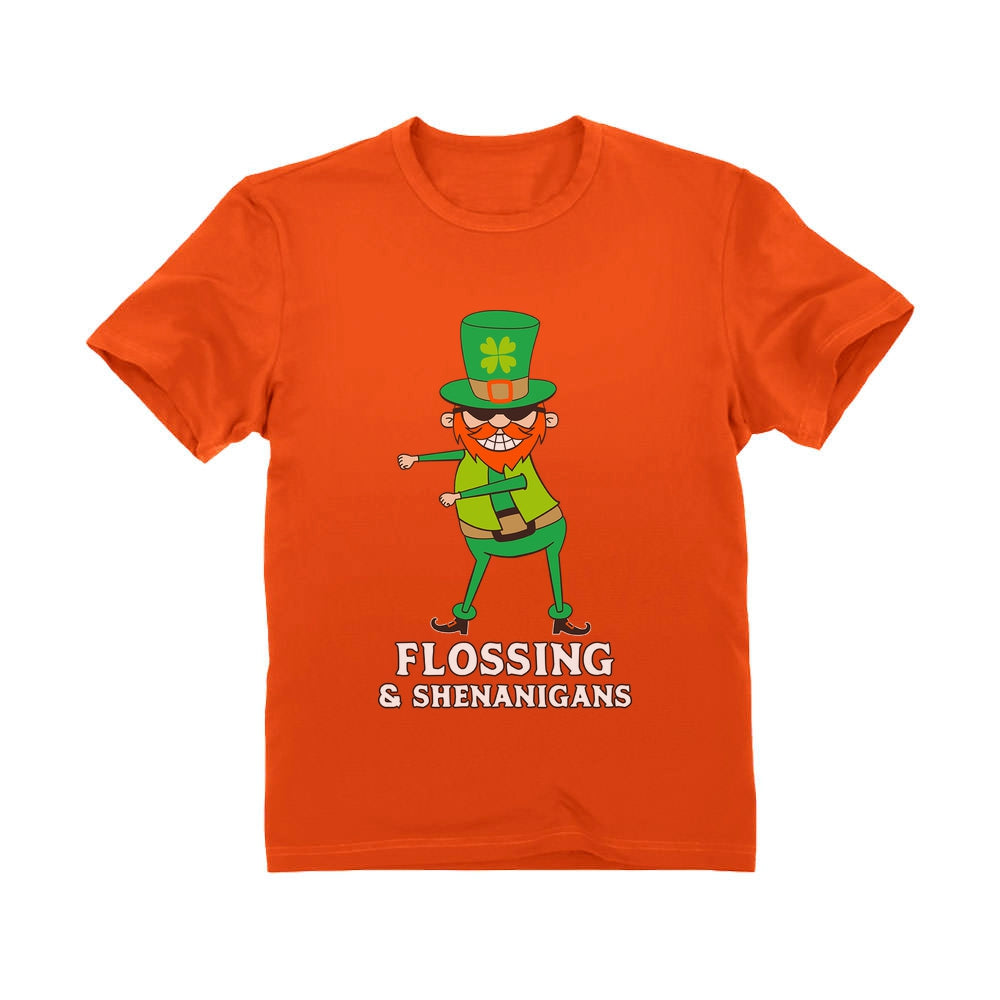 Flossing & Shenanigans Leprechaun Funny St. Patrick's Youth Kids T-Shirt - Orange