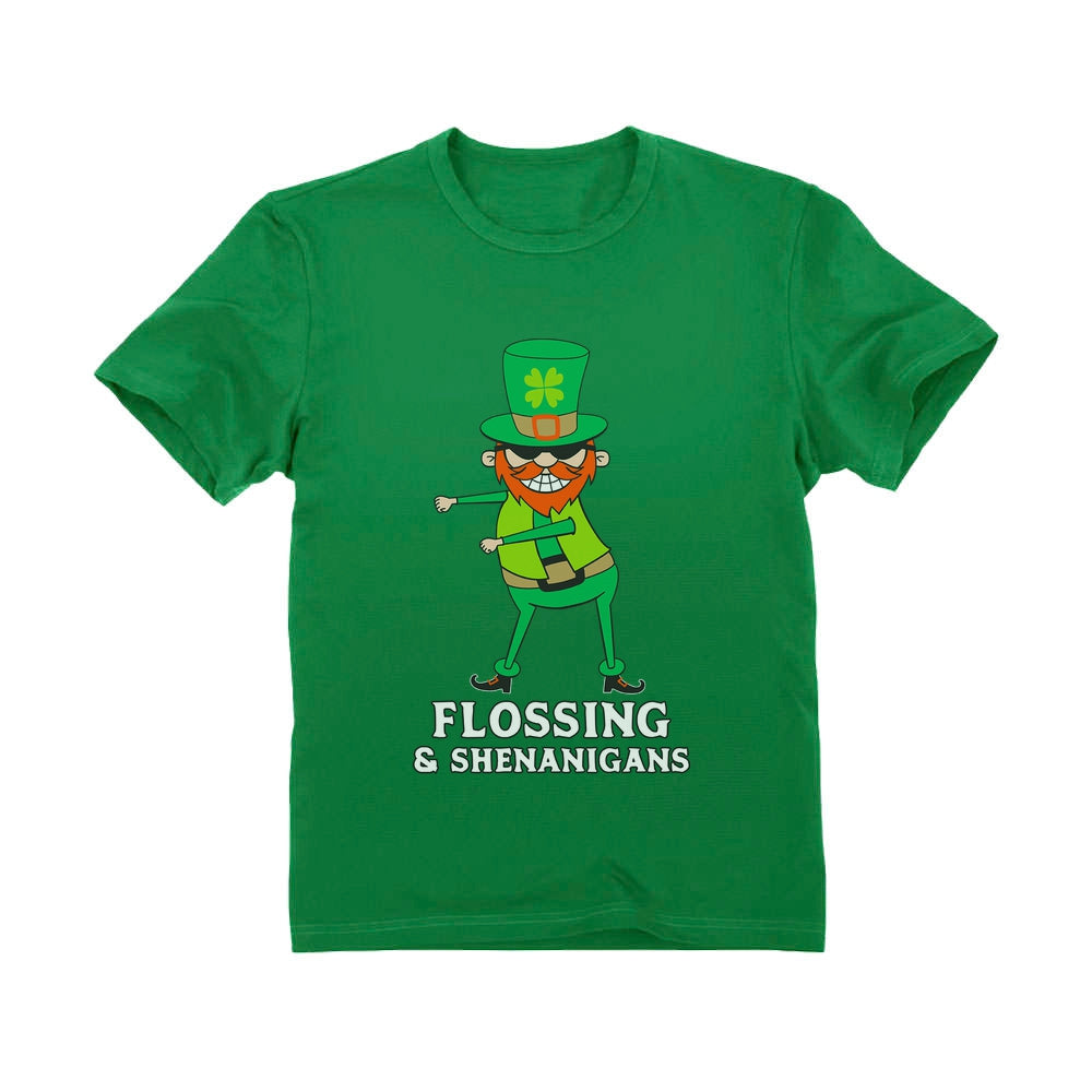 Flossing & Shenanigans Leprechaun Funny St. Patrick's Youth Kids T-Shirt - Green