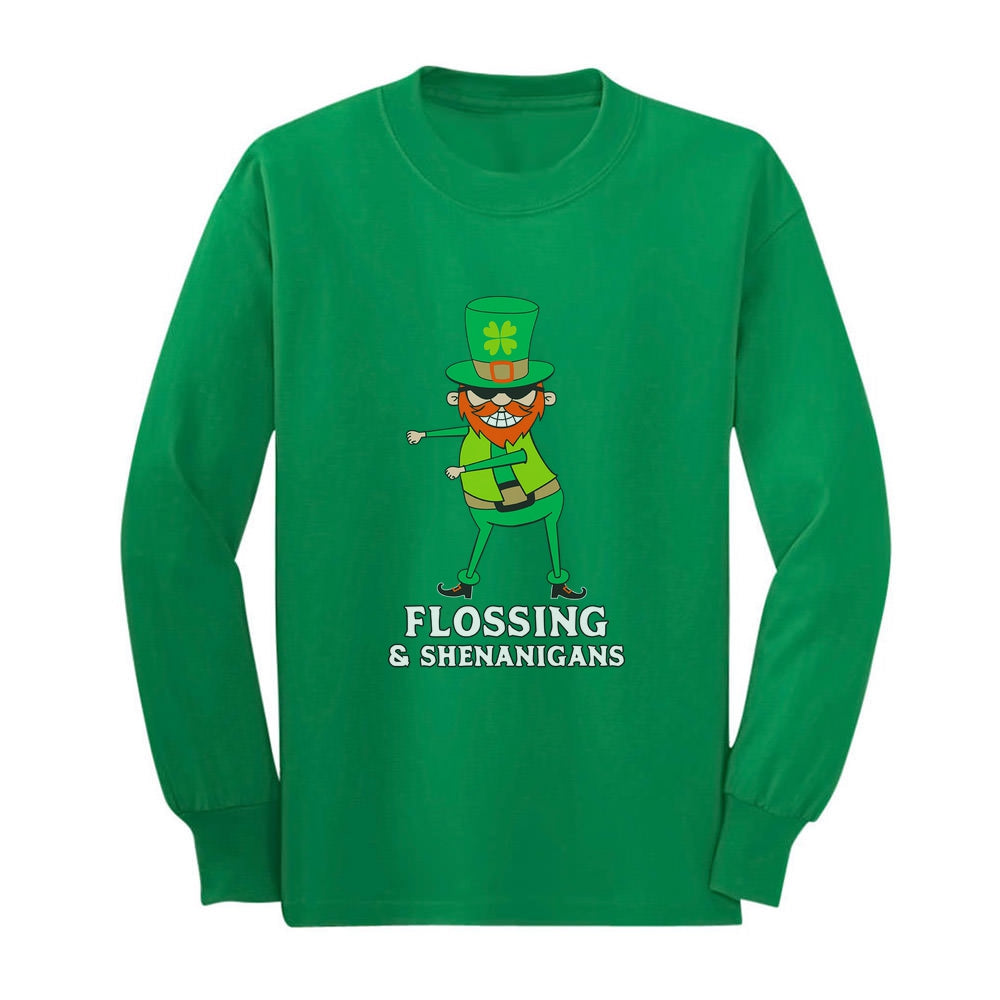 Flossing & Shenanigans Leprechaun Funny St. Patrick's Youth Kids Long Sleeve T-Shirt