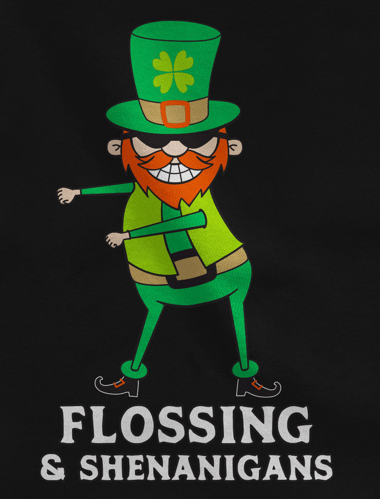 Flossing & Shenanigans Leprechaun Funny St. Patrick's Youth Kids T-Shirt - Gray