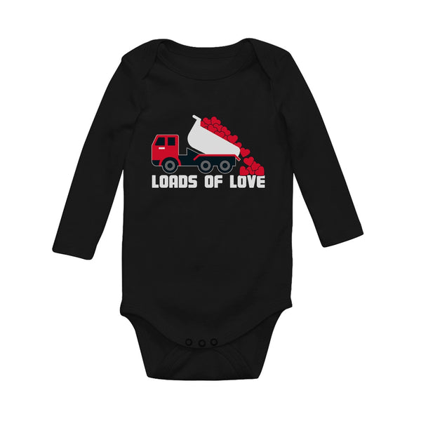 Tstars tshirts First Valentine's Day Loads of Love Dump Truck Baby Long Sleeve Bodysuit