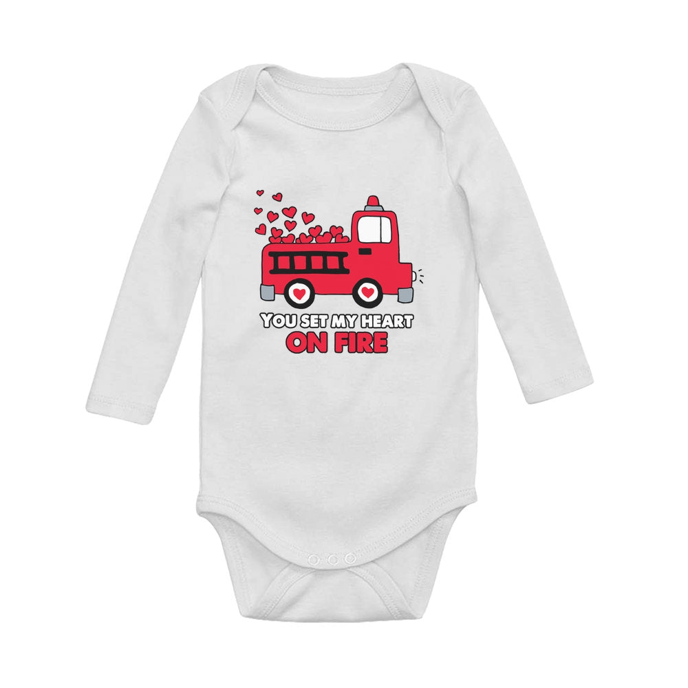 Set My Heart On Fire - Valentine's Day Baby Long Sleeve Bodysuit