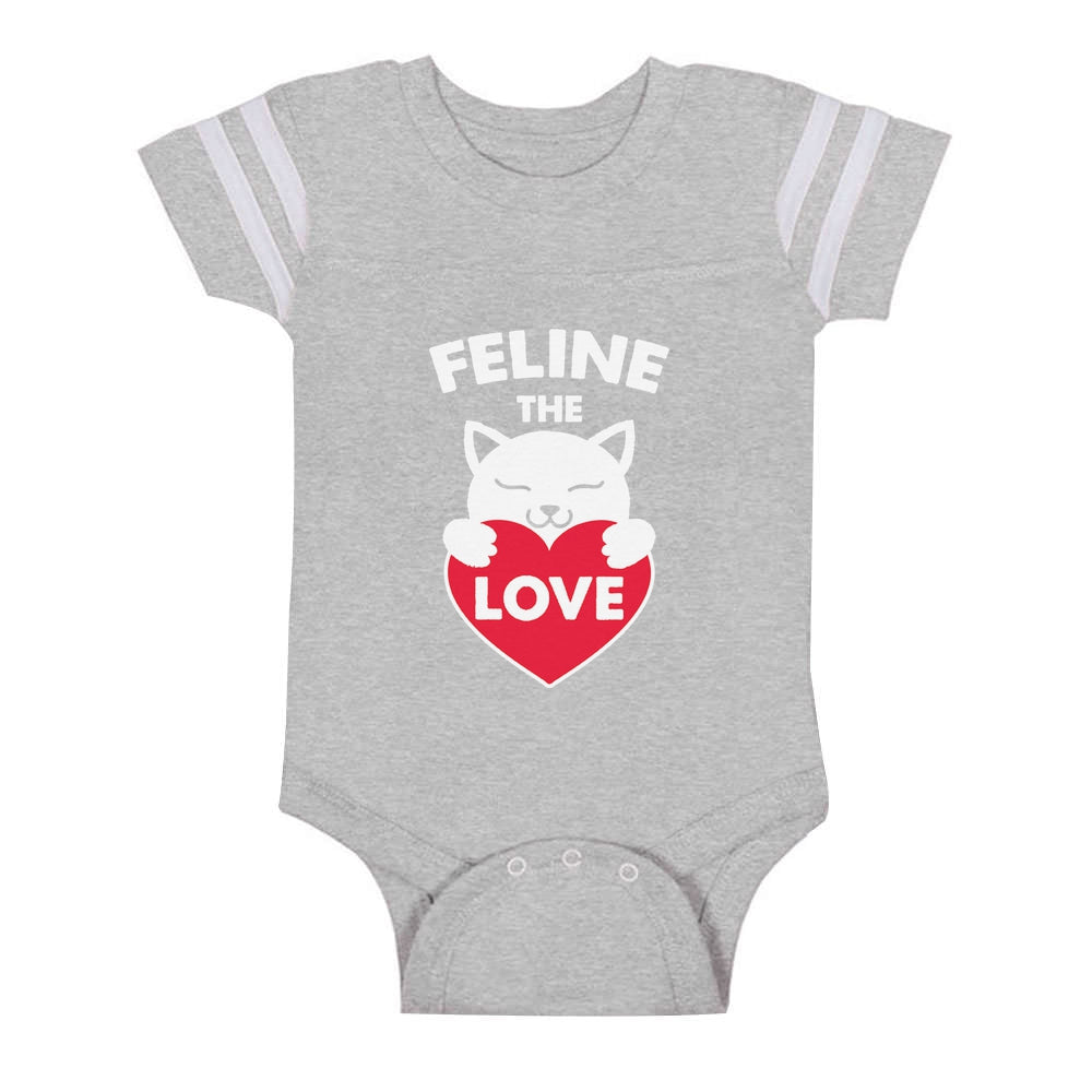 Feline The Love Valentine's Day Gift for Cat Lovers Baby Jersey Bodysuit