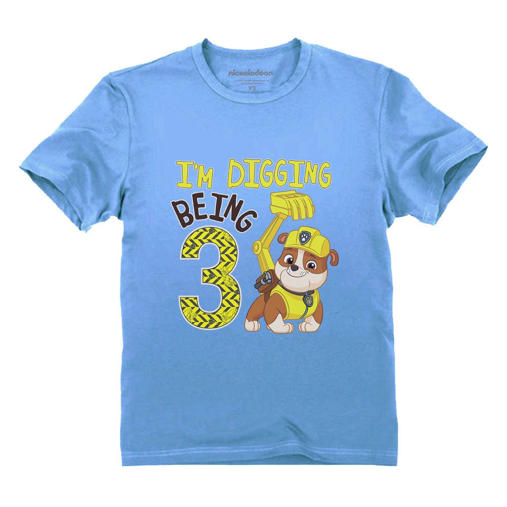 Paw Patrol Rubble Digging 3rd Birthday Official Toddler Kids T-Shirt