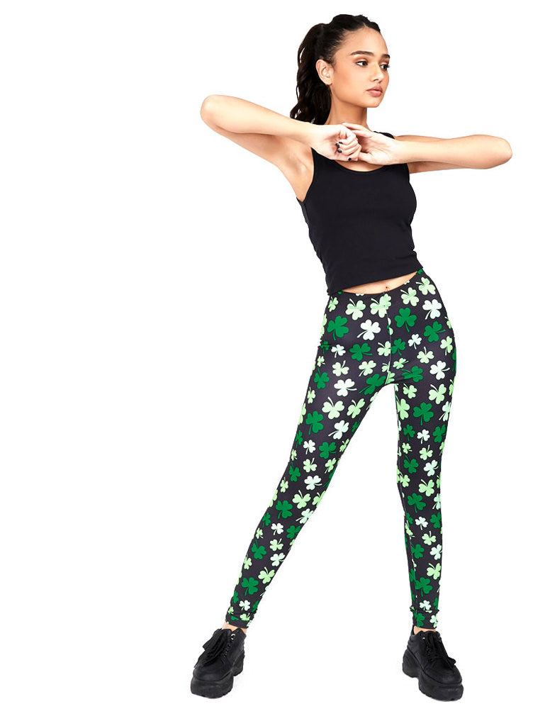 St. Patrick's Day Irish Shamrock Clover Leggings for Women St Paddy's Day Tights