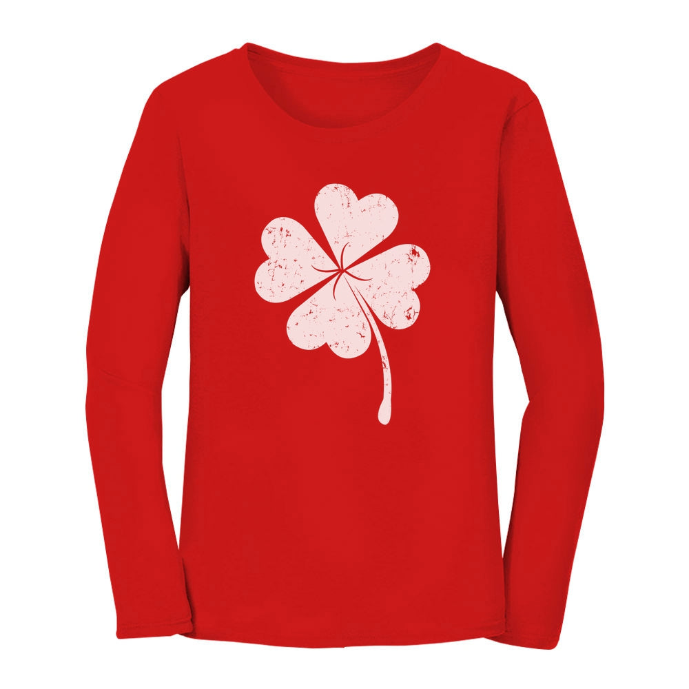 St. Patricks Day Lucky Charm Clover Women Long Sleeve T-Shirt - Red