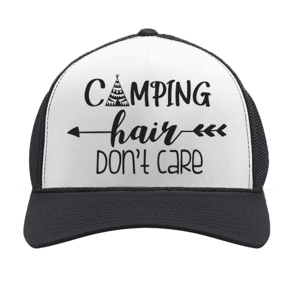 Camping Hair Don't Care Hat Adjustable Camping Trucker Hat Mesh Cap