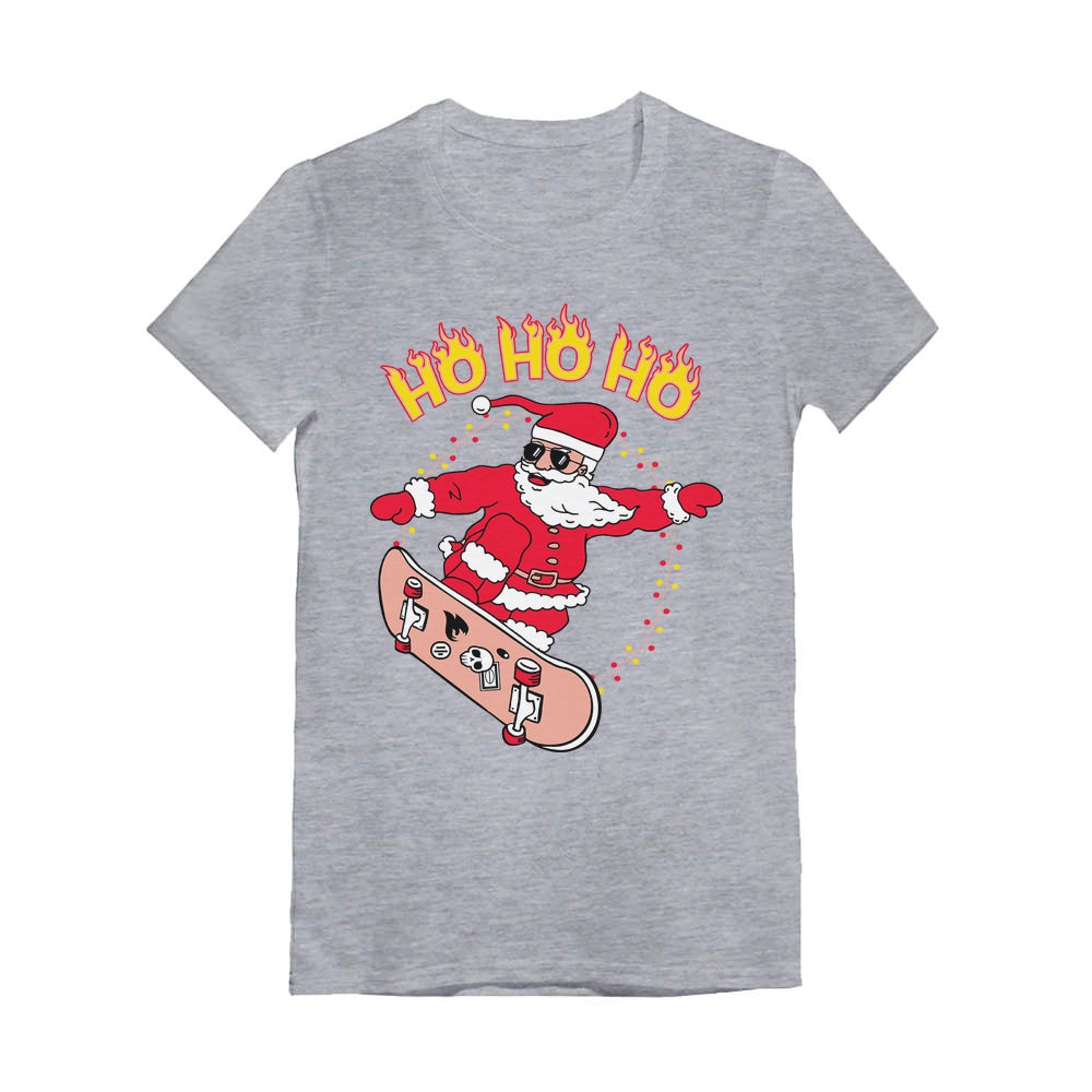 Skateboarding Santa Ho Ho Ho Ugly Christmas Youth Kids Girls' Fitted T-Shirt