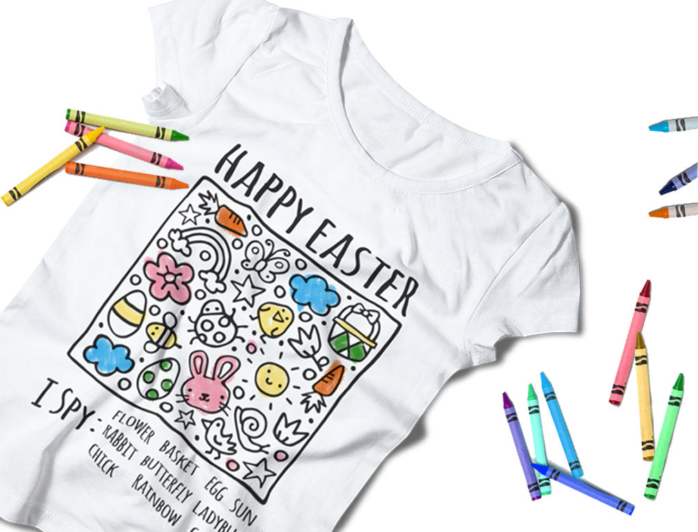 Happy Easter Coloring Kit With Fabric Markers I Spy Toddler Kids Girls' Fitted T-Shirt