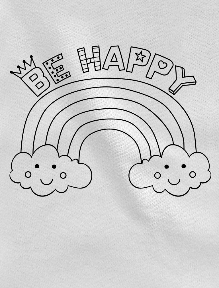 Coloring Shirt & Fabric Markers - Be Happy Toddler Girls' Fitted T-Shirt