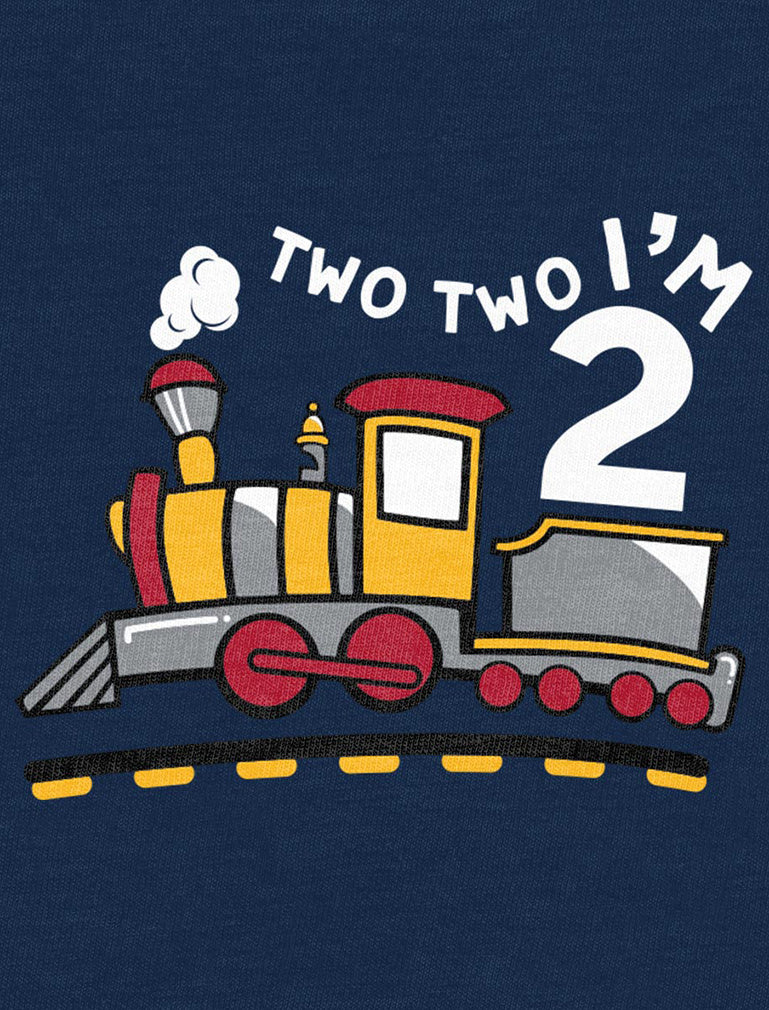 2 Year Old Birthday Boy 2nd Two Train 3/4 Sleeve Baseball Jersey Toddler Shirt