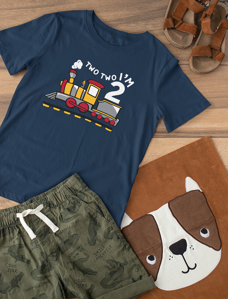 2 Year Old Birthday Shirt for Boy 2nd Birthday Two Train Toddler Kids T-Shirt