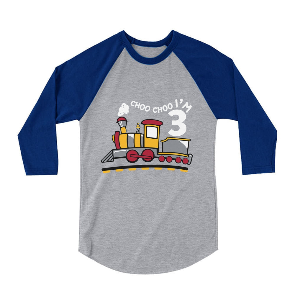 3rd Birthday 3 Year Old Boy Choo Train 3/4 Sleeve Baseball Jersey Toddler Shirt
