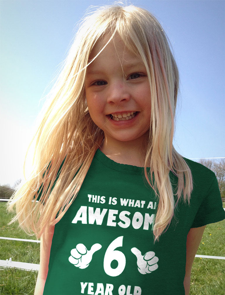 This Is What an Awesome 6 Year Old Looks Like Youth Kids Girls' Fitted T-Shirt - Chill Blue
