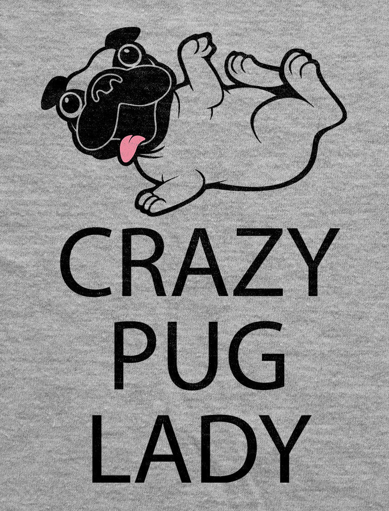 Crazy Pug Lady 3/4 Women Sleeve Baseball Jersey Shirt