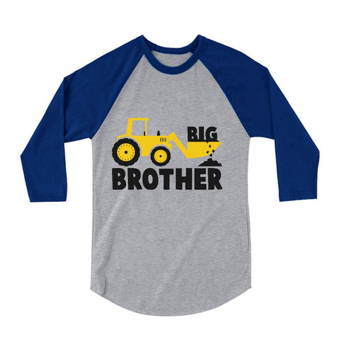 Tstars tshirts Big Brother Tractor Boys 3/4 Sleeve Baseball Jersey Toddler Shirt