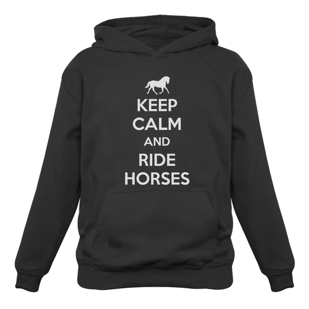 Keep Calm Ride Horses Women Hoodie - Black