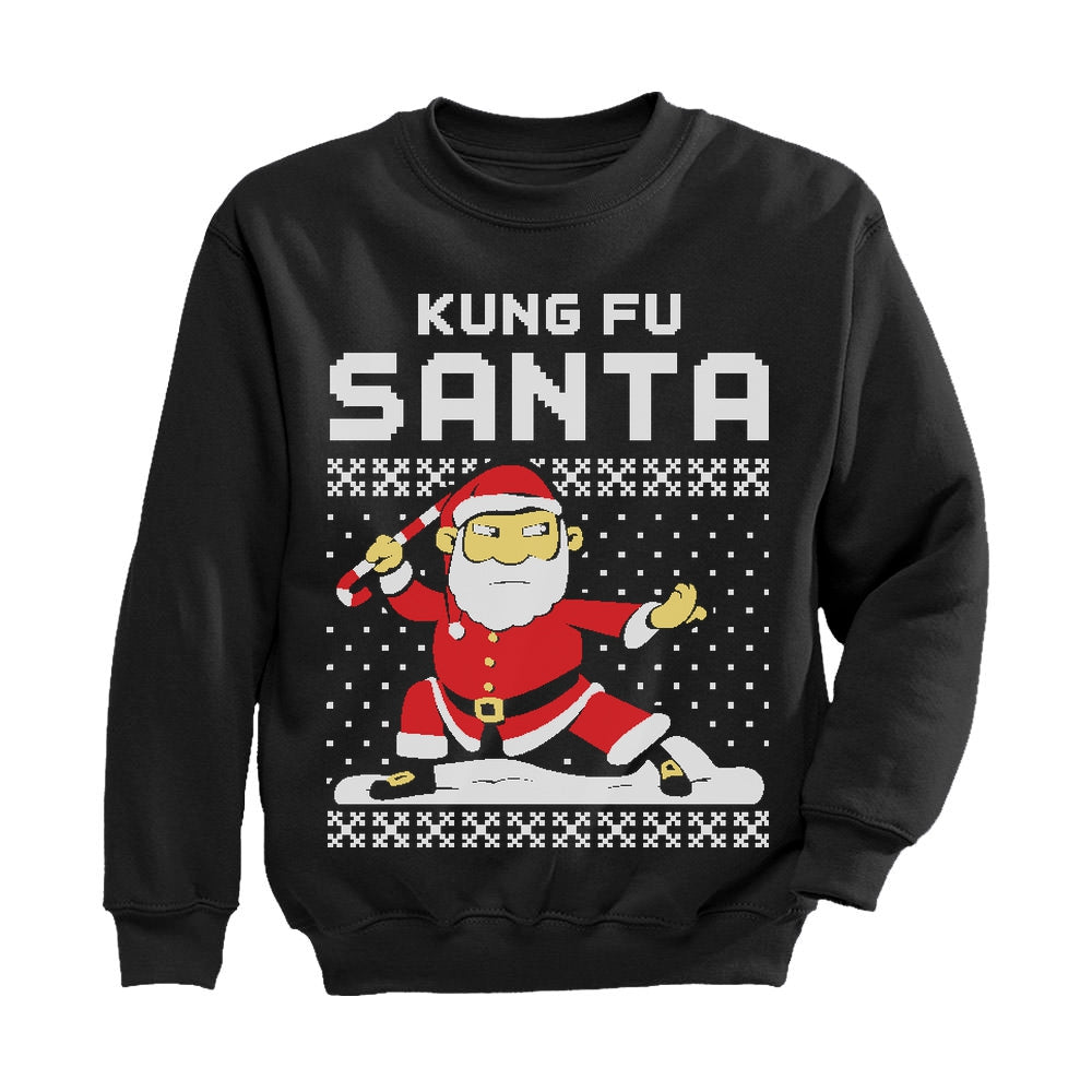 Kung Fu Santa Ugly Christmas Sweater Toddler Kids Sweatshirt