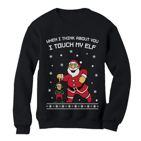Tstars tshirts I Touch My Elf Ugly Christmas Sweater Women Sweatshirt