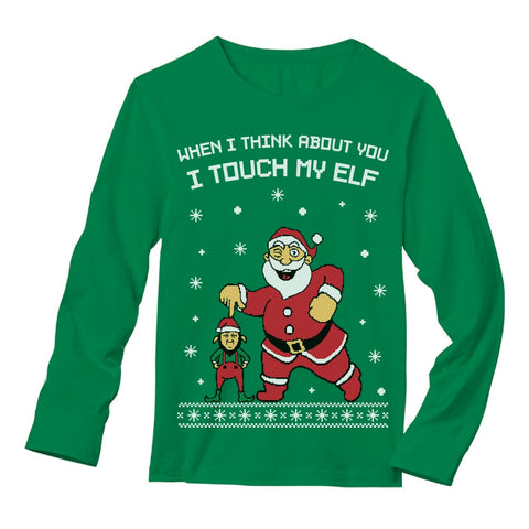 Tstars tshirts I Touch My Elf Ugly Christmas Sweater Long Sleeve T-Shirt