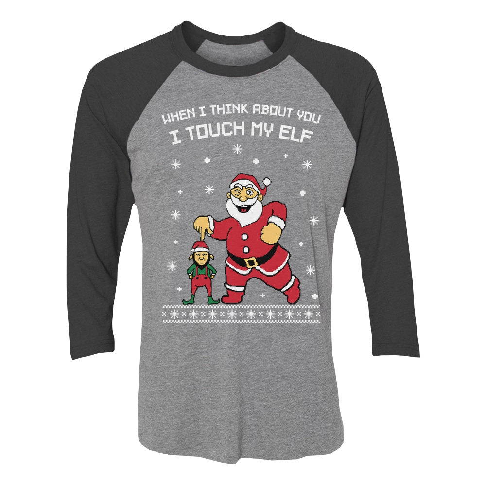I Touch My Elf Ugly Christmas Sweater 3/4 Women Sleeve Baseball Jersey Shirt - black/gray