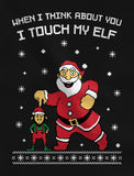 Thumb I Touch My Elf Ugly Christmas Sweater 3/4 Women Sleeve Baseball Jersey Shirt