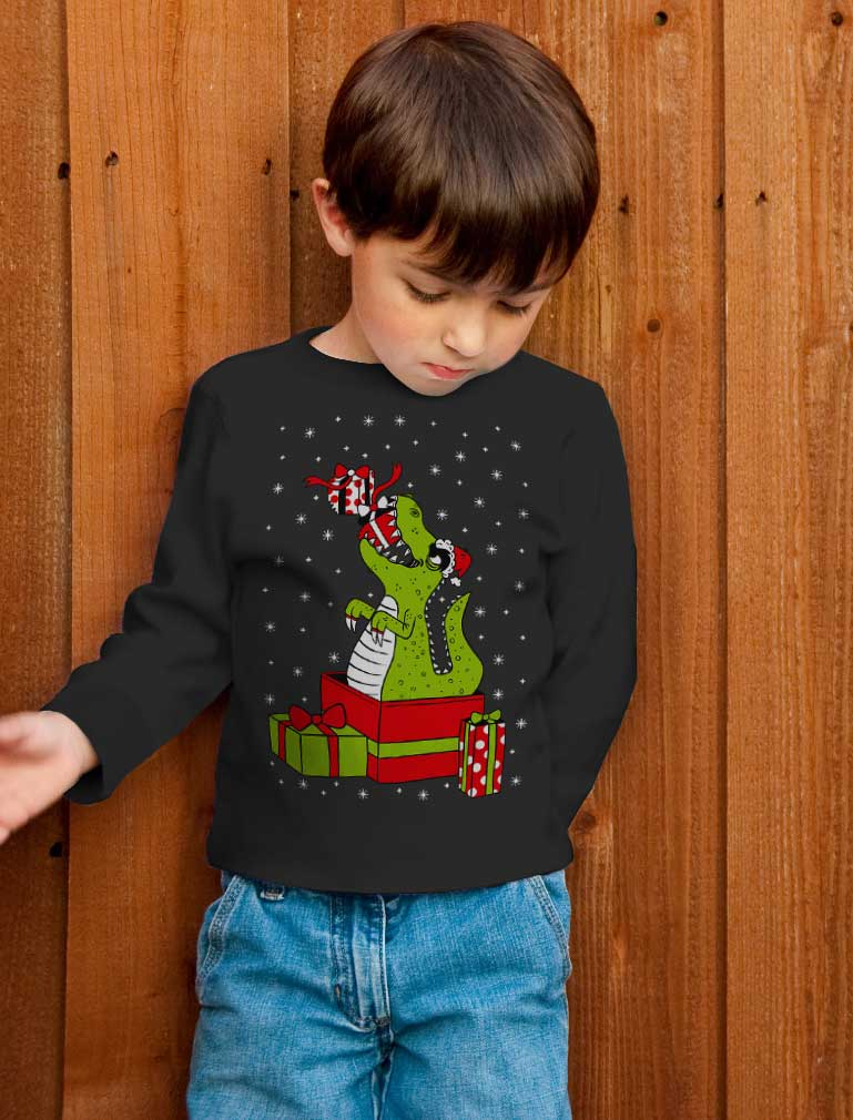 T-Rex Christmas Gift Dinosaur Ugly Xmas Toddler Kids Long sleeve T-Shirt