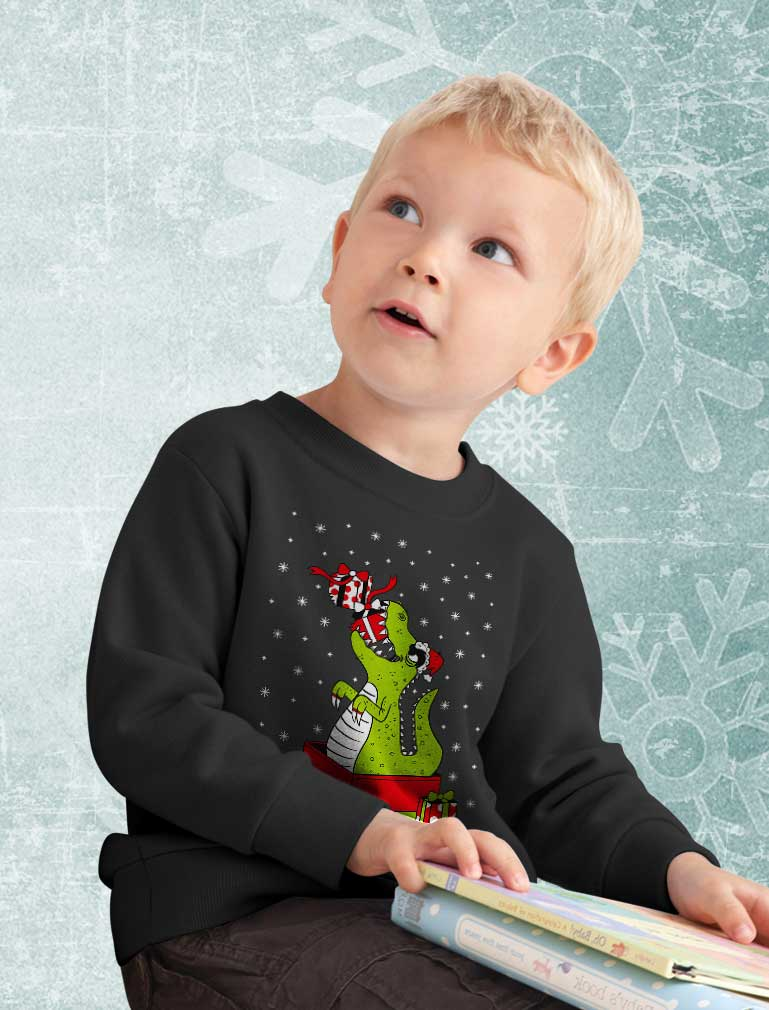 T-Rex Christmas Gift Dinosaur Ugly Xmas Toddler Kids Sweatshirt