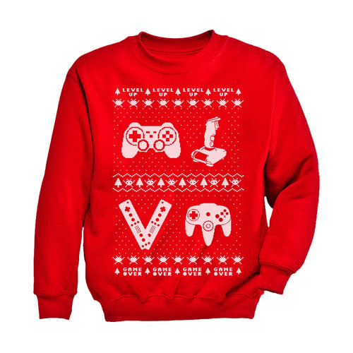 Gamer Retro Ugly Christmas Sweater Xmas Party Youth Kids Long Sleeve T-Shirt