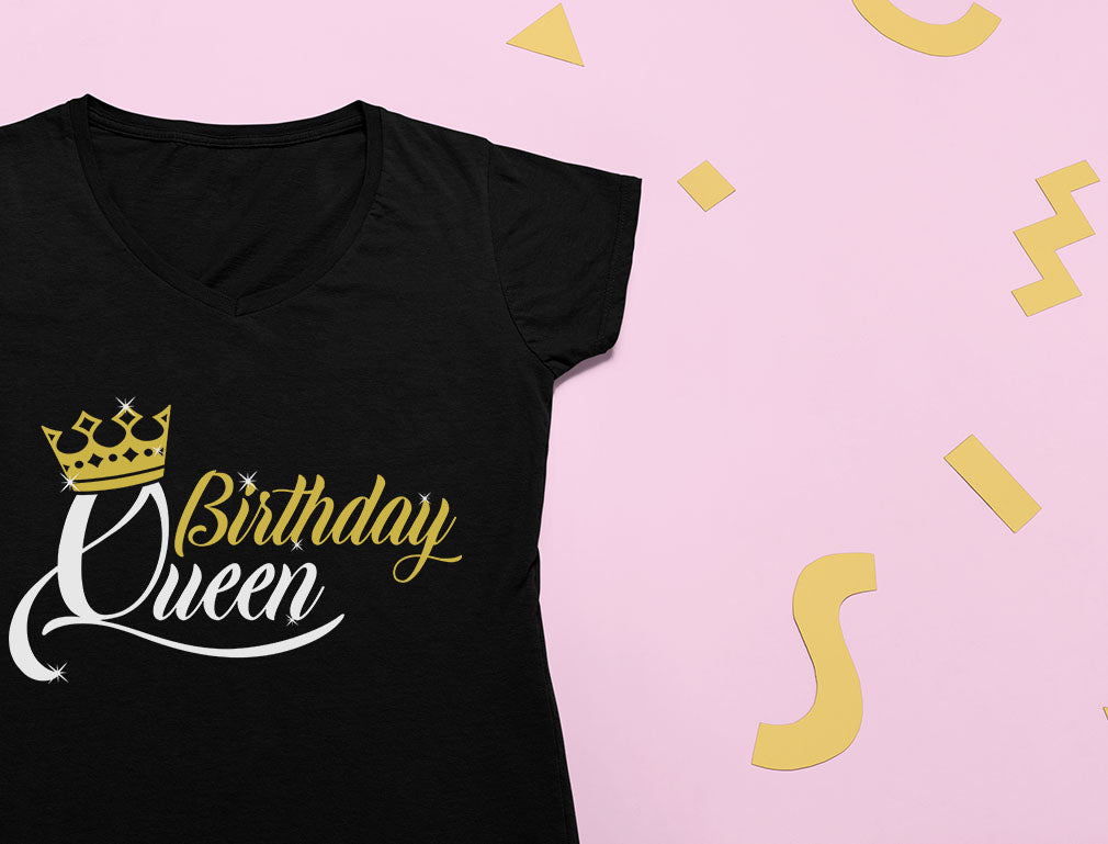 Birthday Queen Girls Birthday Crown V-Neck Fitted Women T-Shirt