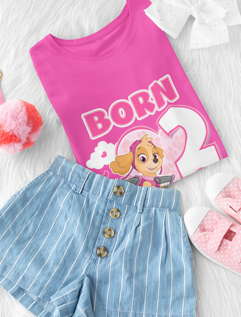Birthday Girl Paw Patrol Skye Born 2 Fly 2nd Birthday Toddler Kids Girls' Fitted T-Shirt