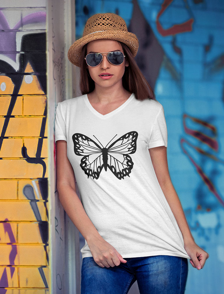 Women's Butterfly Graphic Shirt Teen Girls Summer V-Neck Fitted Women T-Shirt
