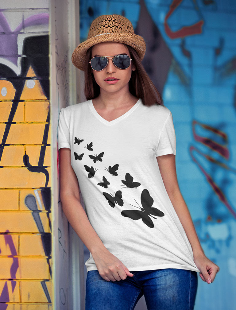 Butterfly V-Neck Fitted Women T-Shirt