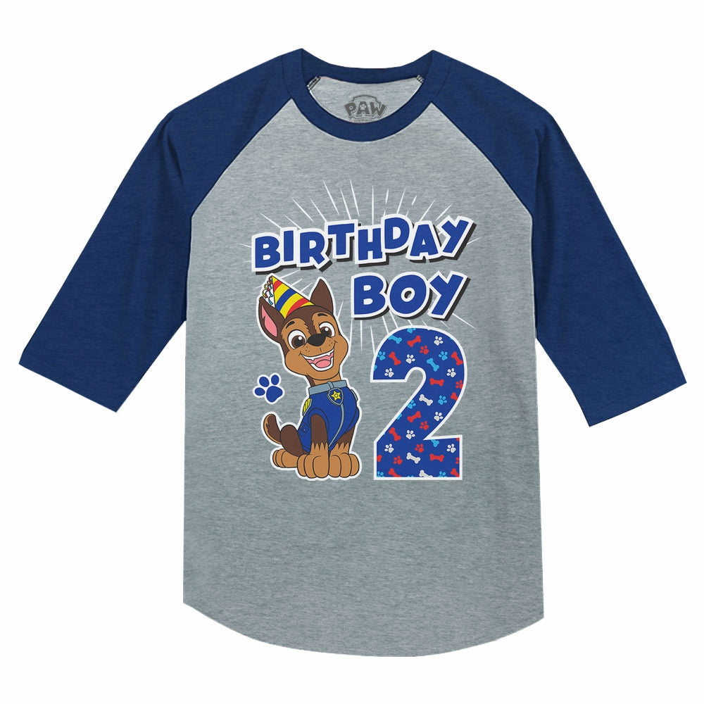 Paw Patrol Chase Boys 2nd Birthday 3/4 Sleeve Baseball Jersey Toddler Shirt