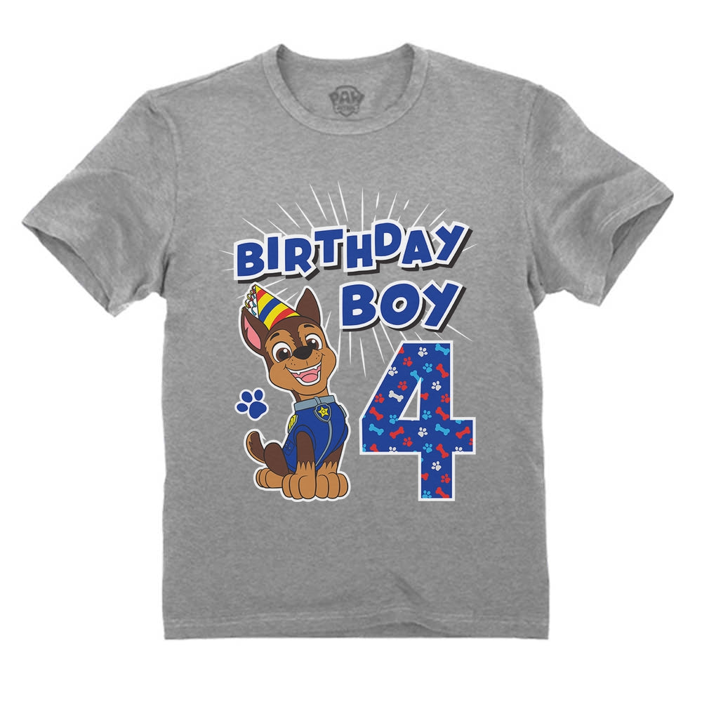 Official Paw Patrol Chase Boys 4th Birthday Toddler Kids T-Shirt