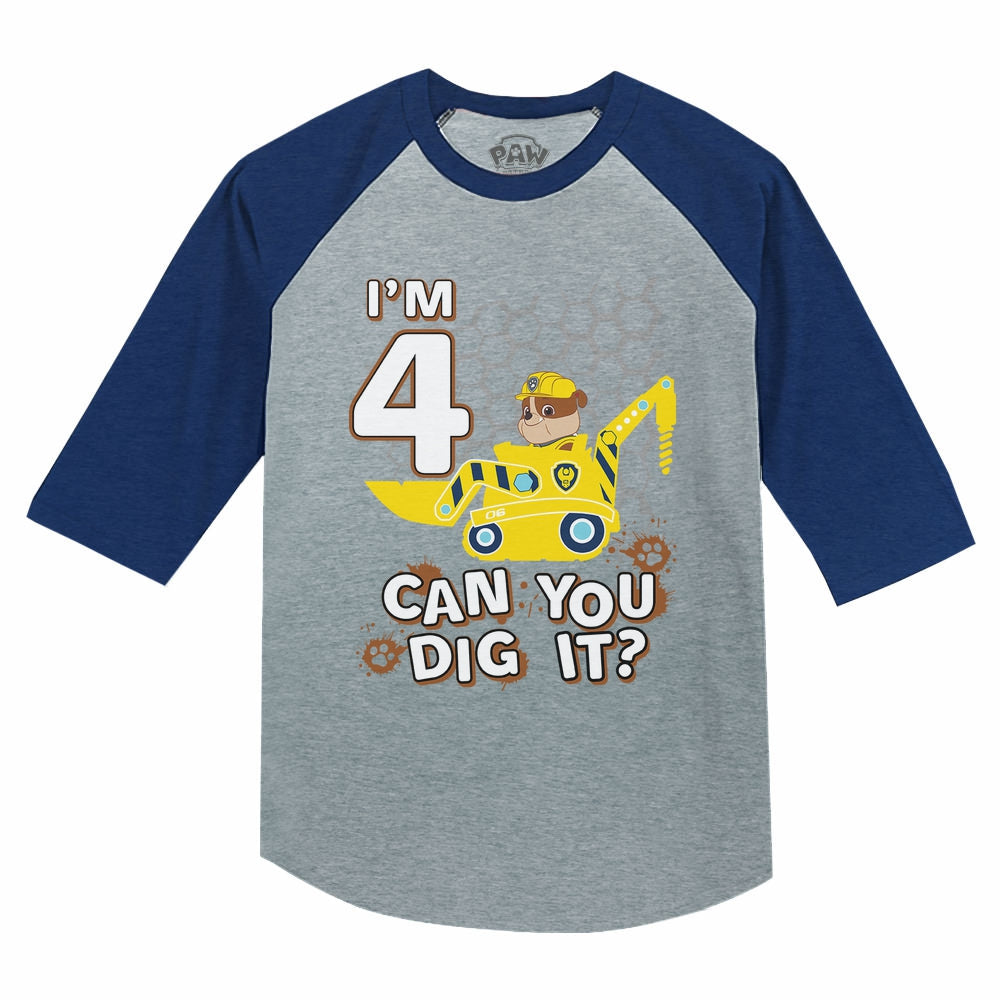 Paw Patrol Rubble 4th Birthday Tractor 3/4 Sleeve Baseball Jersey Toddler Shirt