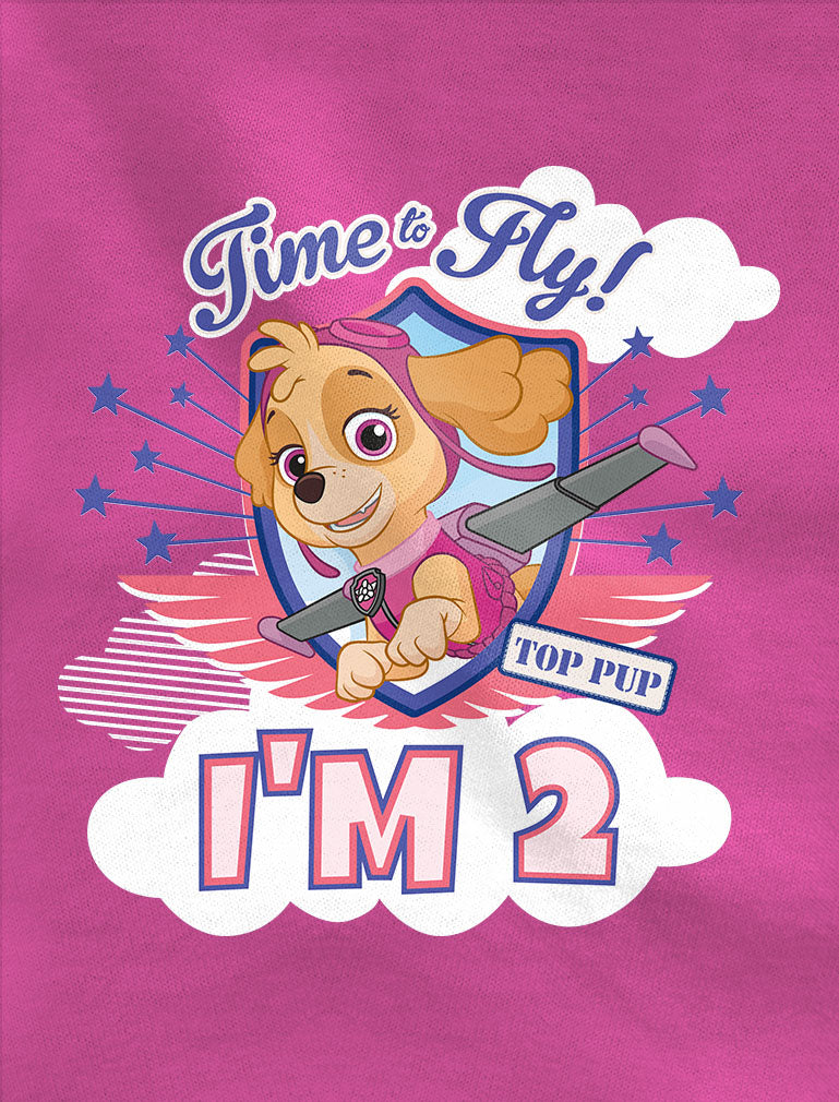 Skye I'm 2 Paw Patrol 2nd Birthday 3/4 Sleeve Baseball Jersey Toddler Shirt