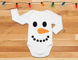 Snowman Outfit for Baby Boy Girl Christmas Holiday Baby Long Sleeve Bodysuit