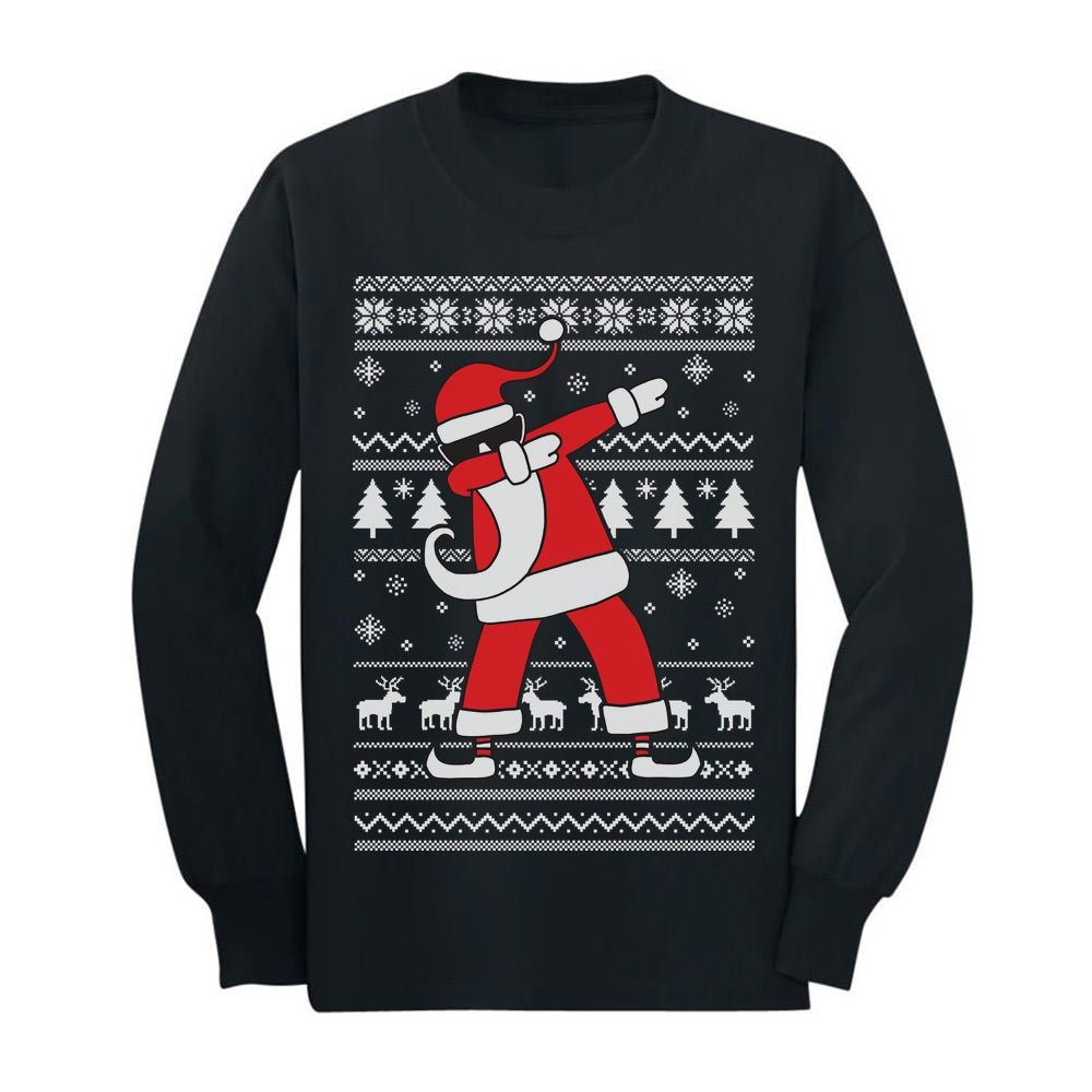 Dabbing Santa Funny Ugly Christmas Party Youth Long Sleeve T-Shirt - Black