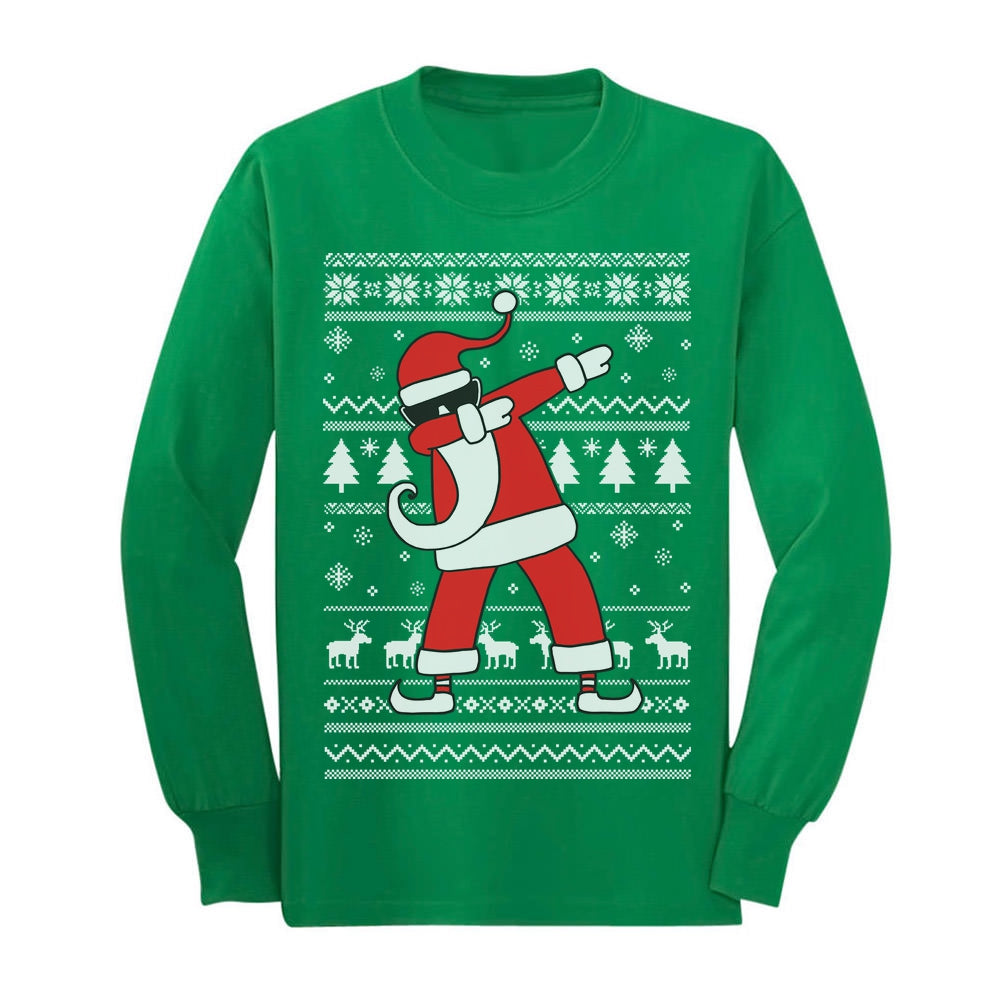 Dabbing Santa Funny Ugly Christmas Party Youth Long Sleeve T-Shirt - Green