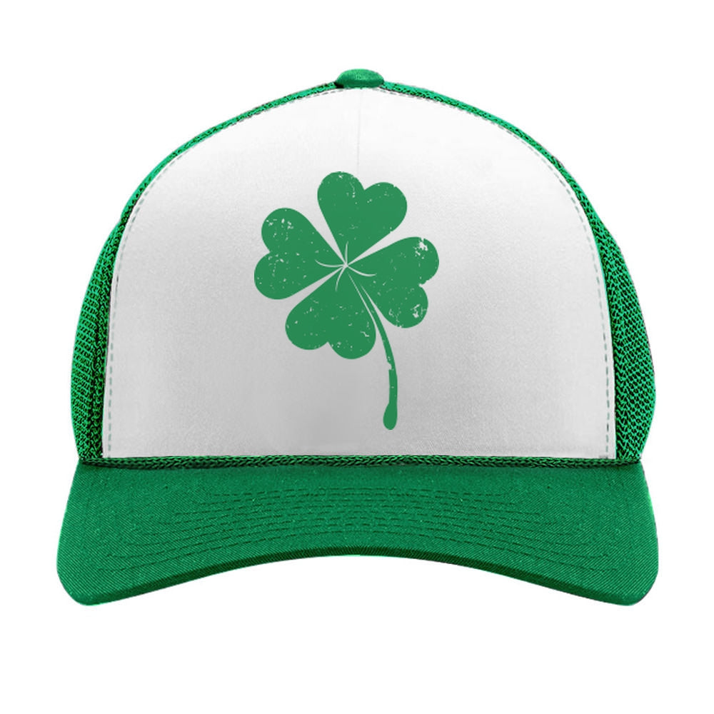St. Patrick's Day Shamrock Irish Green Four-leaf clover Trucker Hat Mesh Cap - green/white